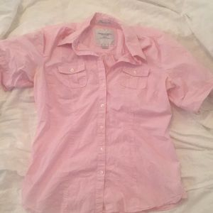 American Eagle Pink stripe button up